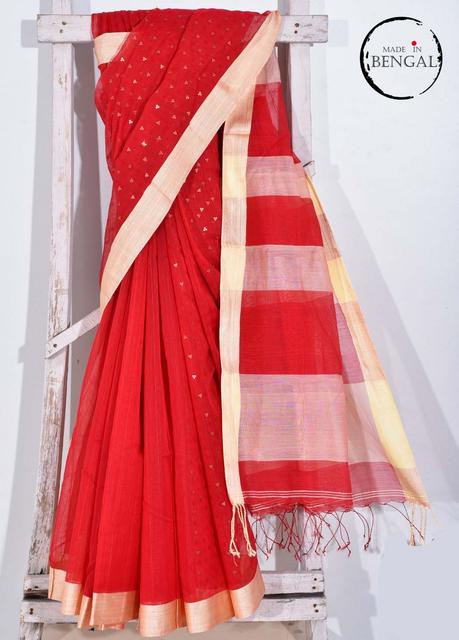 Handwoven Red Cotton Resham Saree with Sequence