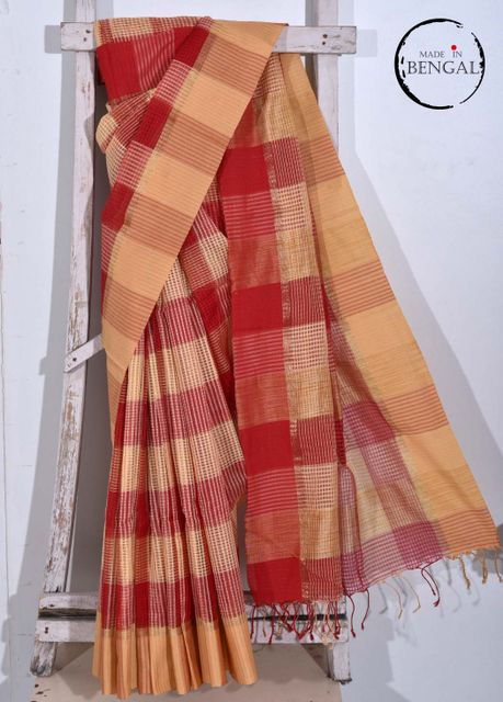 Red&Cream Handwoven Resham Saree