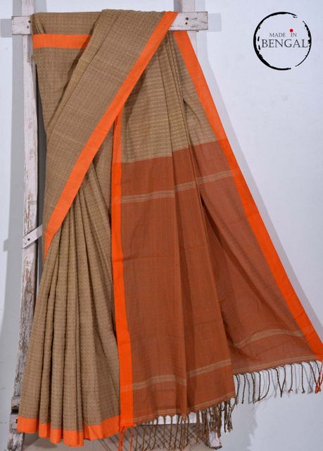 Brown Dhanjhora' styled Handwoven Cotton Saree