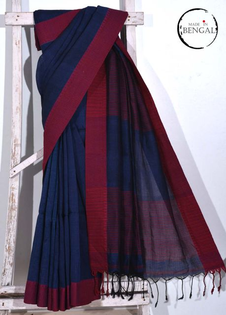 Midnight Blue Handwoven Cotton Linen Saree