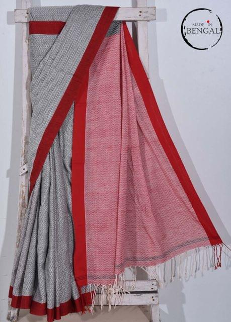 Grey&Red Handwoven 'Dhanjhora' Cotton Saree
