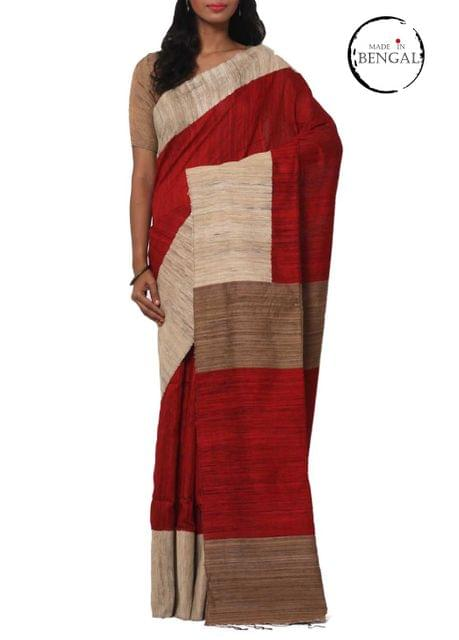 Red Raw Matka& Geecha Handwoven Saree