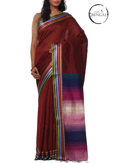 Maroon Ramdhanu Handwoven Resham Cotton Saree