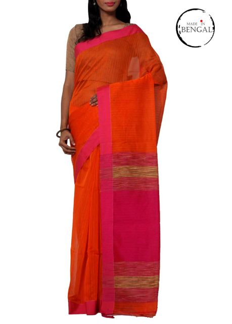 Orange Pink Resham Cotton Handwoven Saree