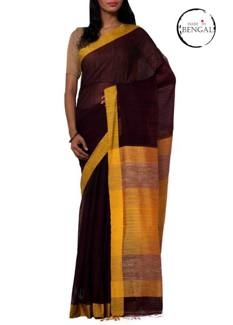 Deep Purple Resham Cotton Handwoven Saree