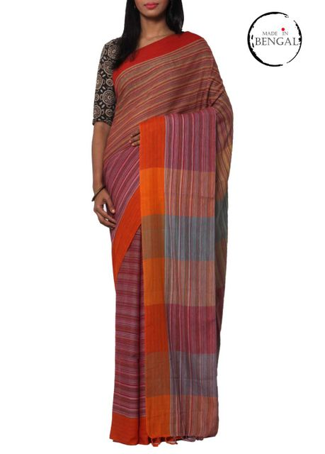 Handwoven Pure Cotton GAMCHA saree with Broad Bands