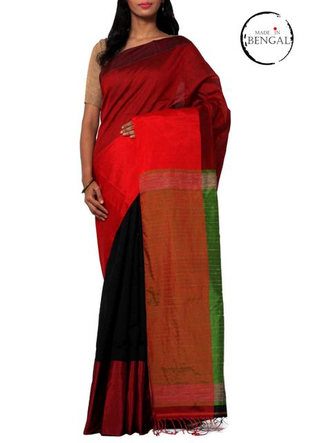 Half-Half Handwoven MatkaCotton Saree with Geecha