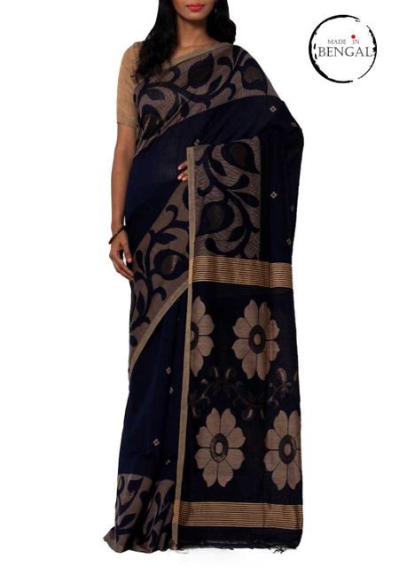 Blue Handwoven Nakshi Jamdani Cotton Saree
