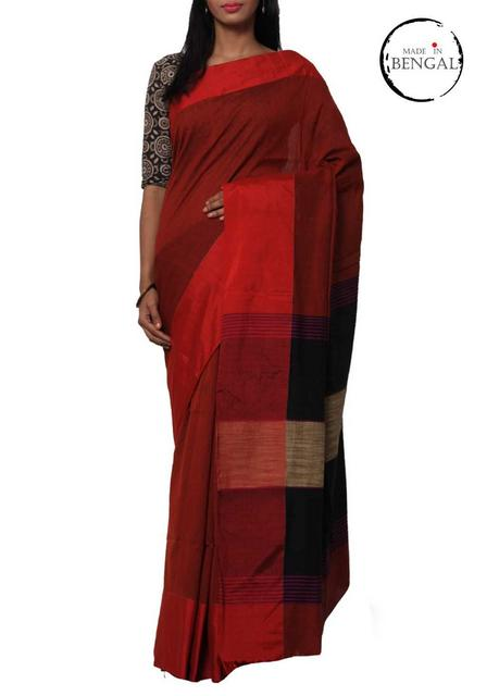 BrickRed Handwoven MatkaCotton Saree