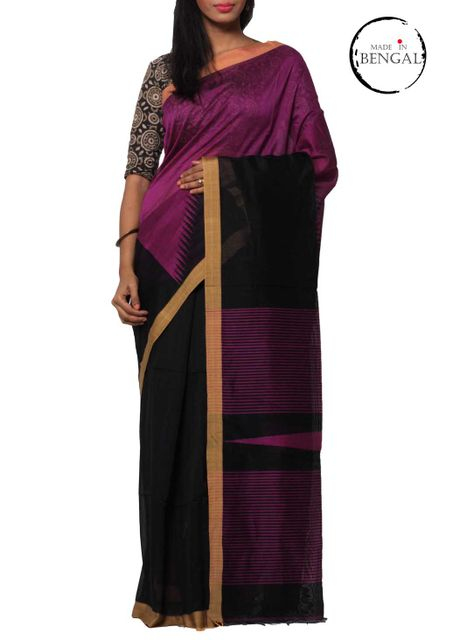 Purple&Black ZigZag Handwoven ReshamCotton Saree