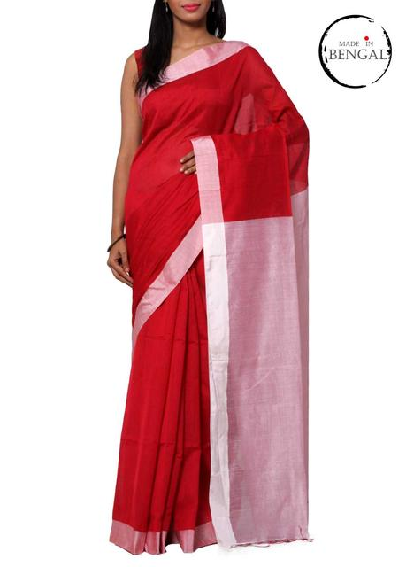 Red&White Handwoven Cotton Saree