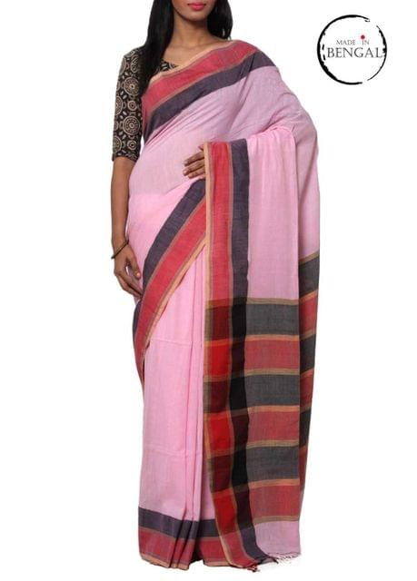 Baby Pink Pure Cotton Handwoven Saree