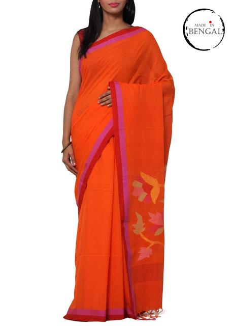 Khadi Cotton Jamdani Handwoven Saree in Dawn Colours