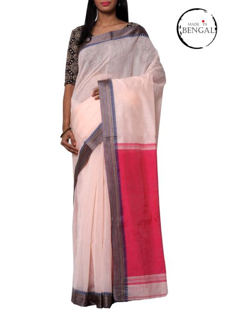 Sada Pink Cotton Handwoven Saree