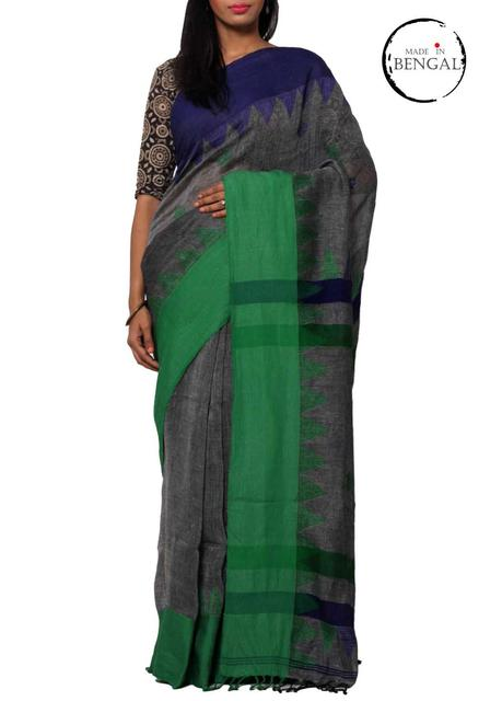 Pure Linen Jamdani Handwoven Saree in Dark Grey