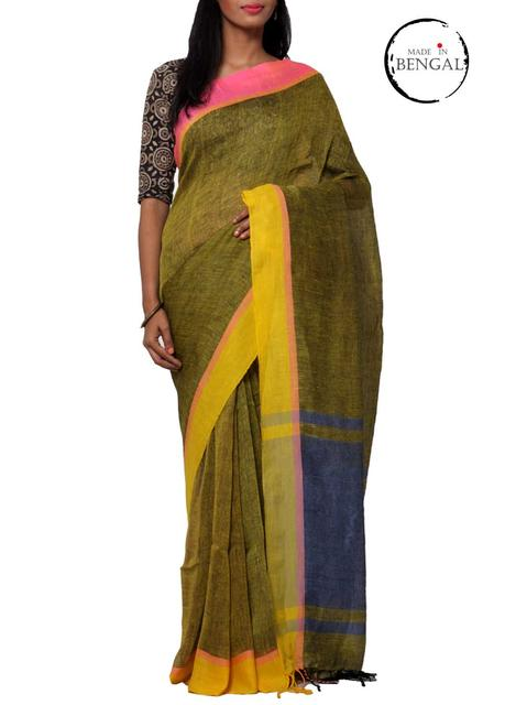 Pure Linen Handwoven Saree in Shaded Yellow