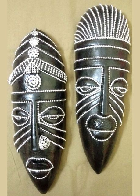 Tribal Mask Black-Silver Beads