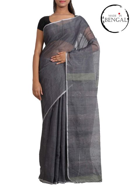 Grey Cotton Tara Saree