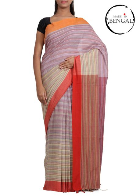 Dual Bands Cotton Gamcha Saree
