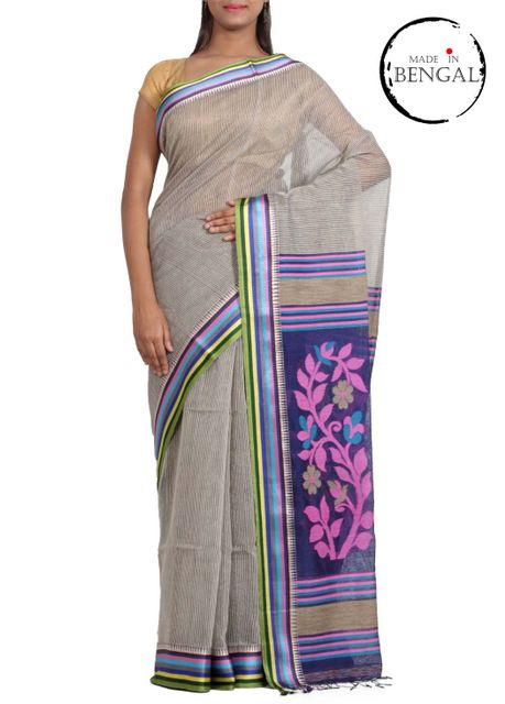 BlackWhite Striped Cotton Saree