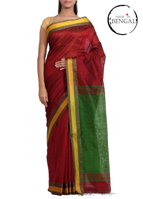 MaroonGreen Handwoven CottonSilk Saree