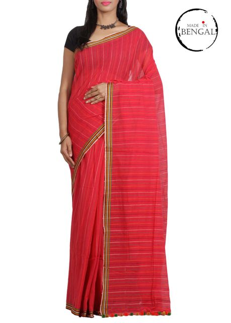 Red Striped Cotton Saree with PomPom