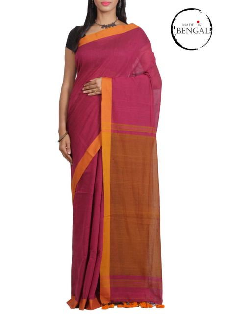 Magenta Cotton Handwoven Saree