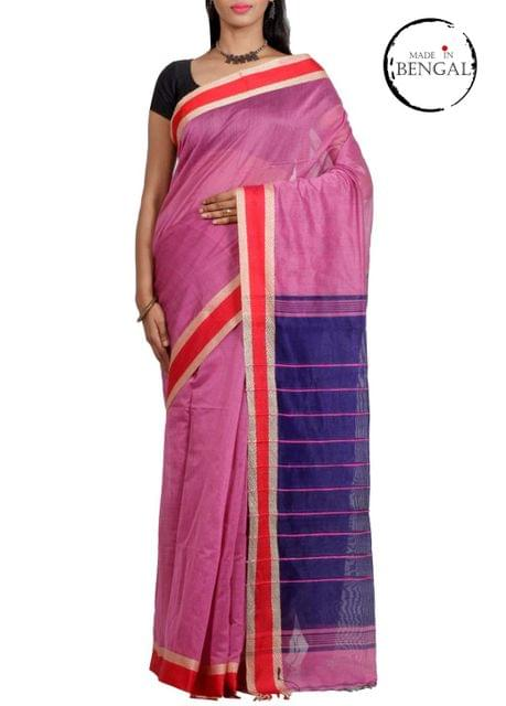 Blue&Pink Resham Cotton Saree