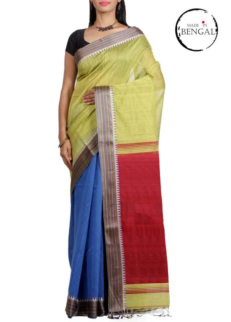 BlueYellow Half-n-Half Resham Cotton Saree