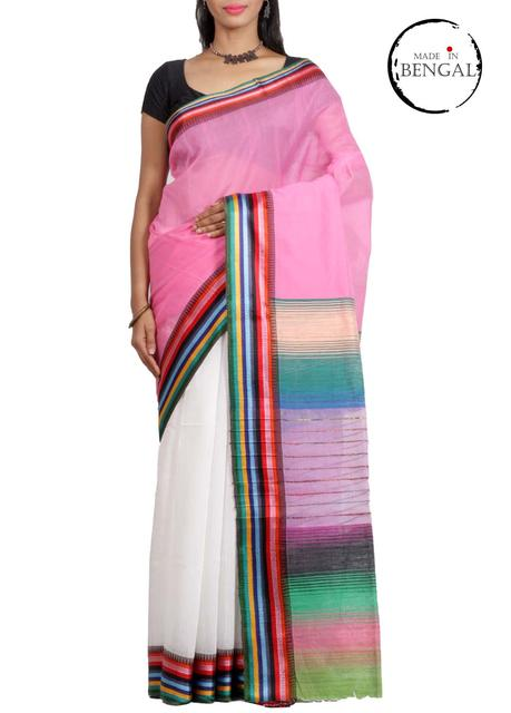 WhitePink Half-n-Half Resham Cotton Saree