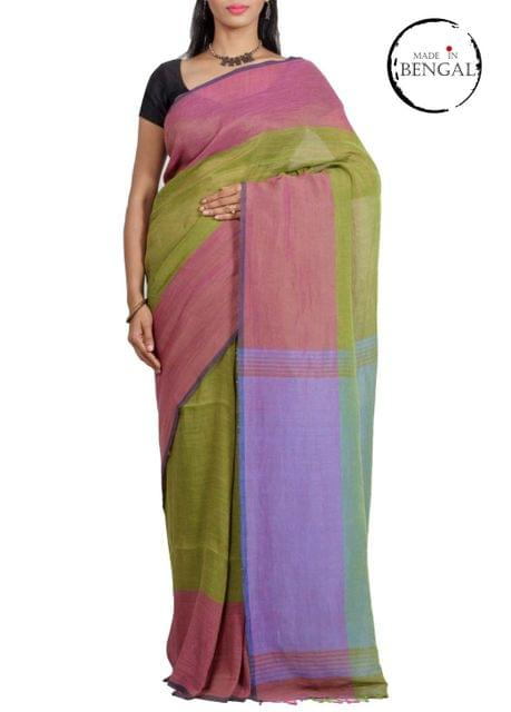 MossGreen Linen Cotton Saree