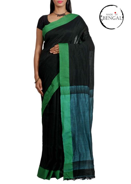 Black Pure Linen Saree