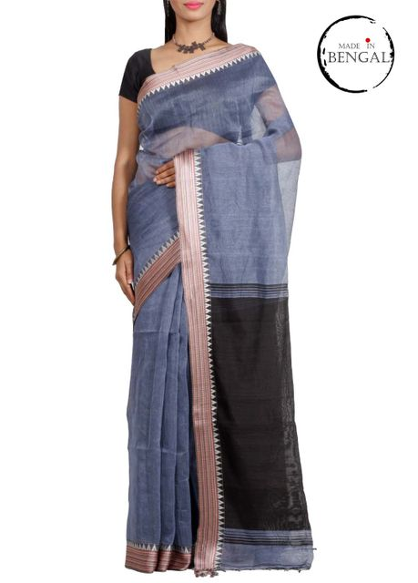 SteelBlue Cotton Linen Saree