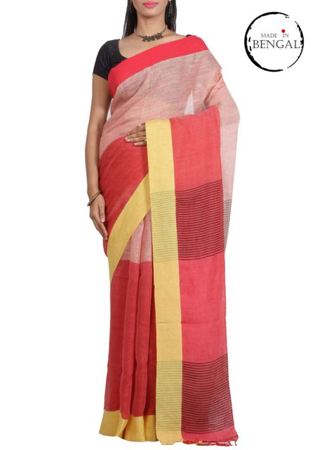 PeachRed Pure Linen Saree