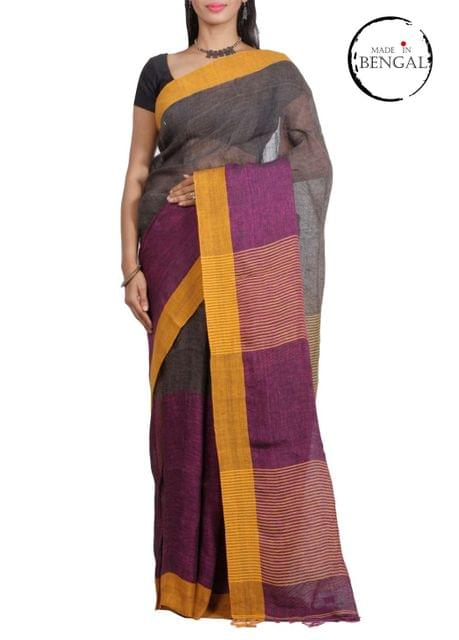 Wine&Moss Pure Linen Saree