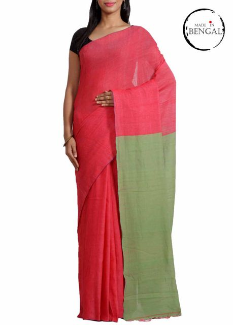 "Pink Pure Cotton ""Vayu"" Saree"