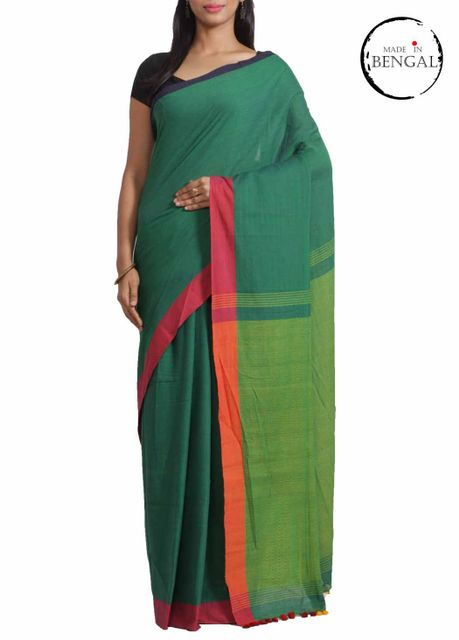 PineGreen 'Dhanjhora' Cotton Saree