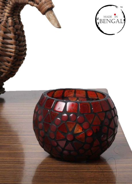 Red Round Glass Mosaic Candle Holder
