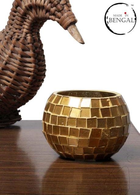 Golden Glass Mosaic Candle Holder