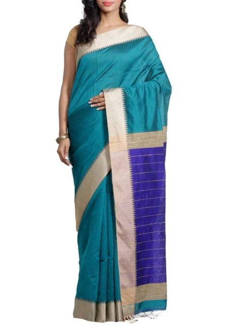 Resham Cotton Handwoven Saree in Teal