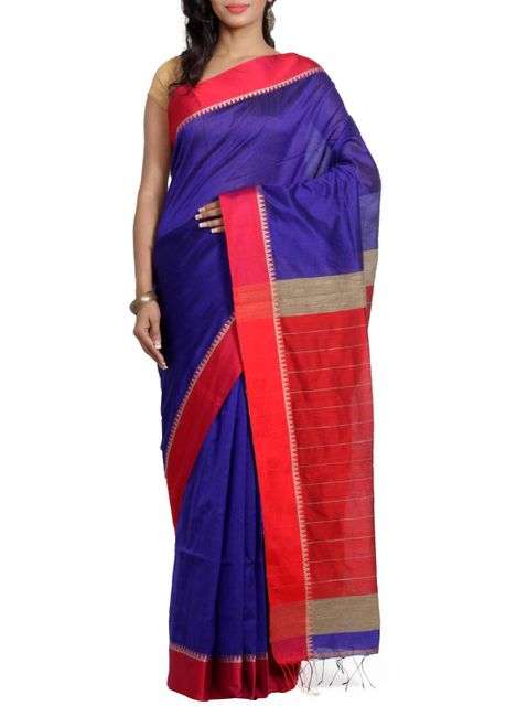 RoyalBlue Resham Cotton Handwoven Saree