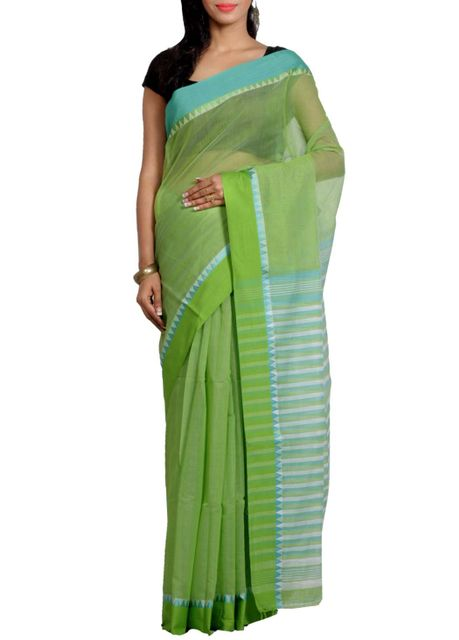 GreenBlue Cotton Blend handwoven Saree