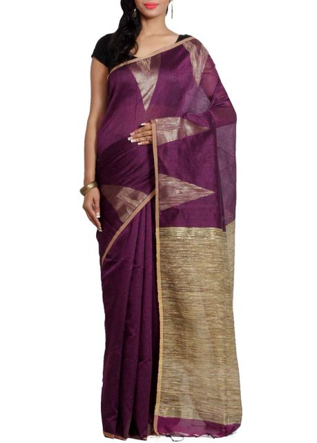 Handwoven Jute Matka Saree in Purple