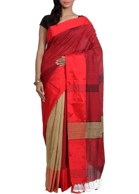 Half-Half Resham Cotton Mahapaar Saree