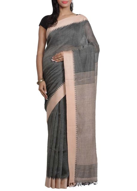 Grey Pure Linen Handwoven Saree