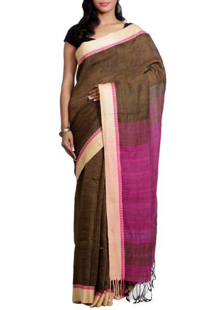 Chocolate Brown Linen Handwoven Saree