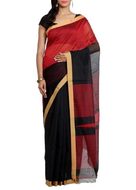 Red ZigZag Naksha Handwoven Matka Saree