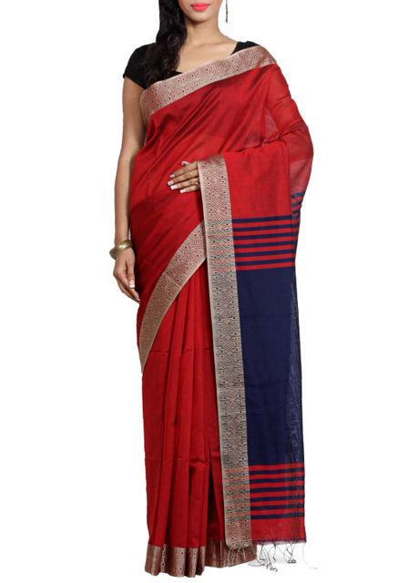 Red Resham Cotton Handwoven Saree