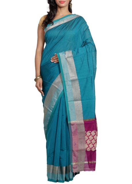 Blue Aam Nakshi Handwoven Saree