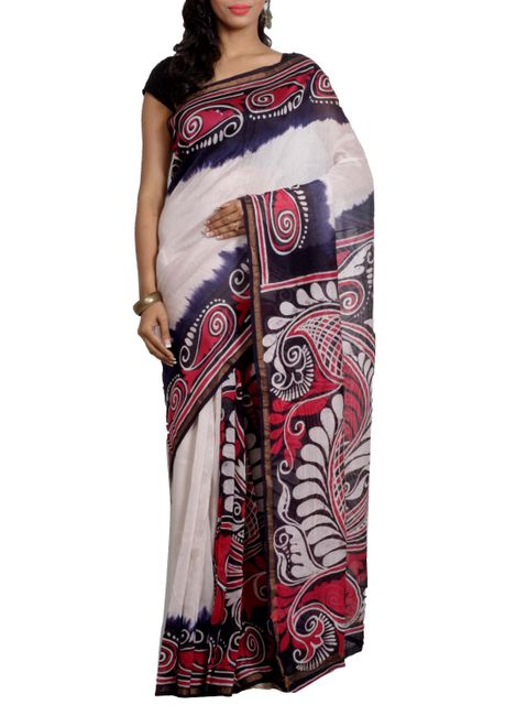 Handcrafted Batik on Chanderi Saree
